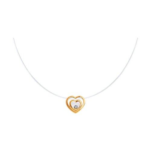 Колье из золота с бриллиантом и перламутром