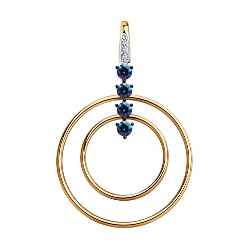 Подвеска из золота с бесцветными и синими Swarovski Zirconia
