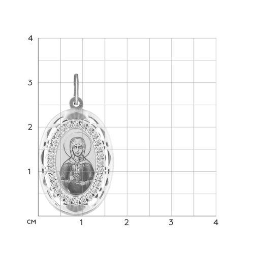 Серебряная иконка «Святая блаженная Матрона Московская» (94100243) - фото №2