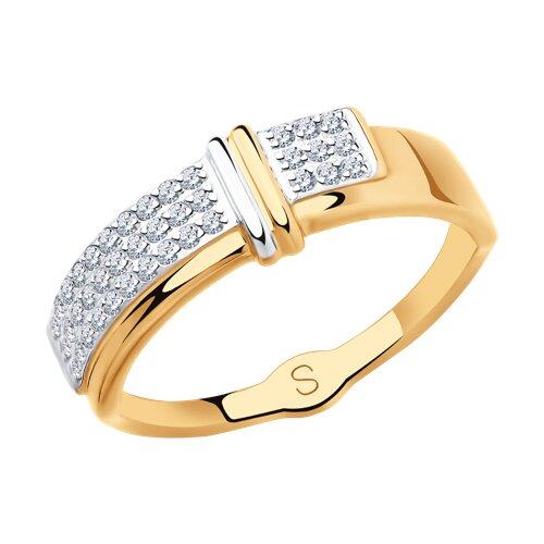Кольцо из золота с фианитами 018126 sokolov фото