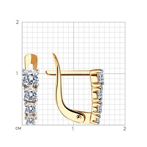 Серьги из золота с фианитами (027455) - фото №2
