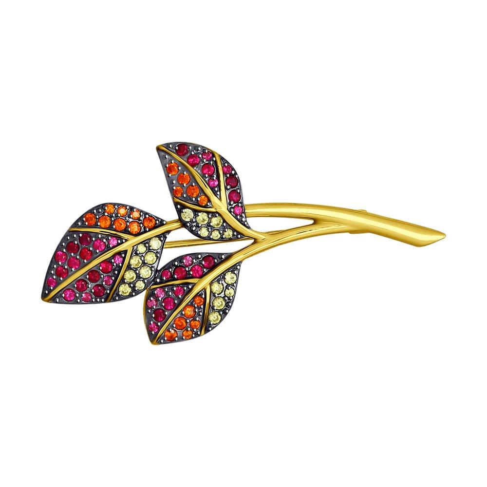 Брошь SOKOLOV из желтого золота «Осенние листья»