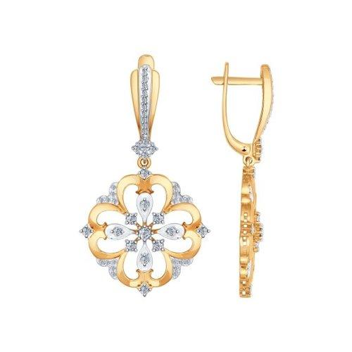 Серьги длинные из золота с бриллиантами
