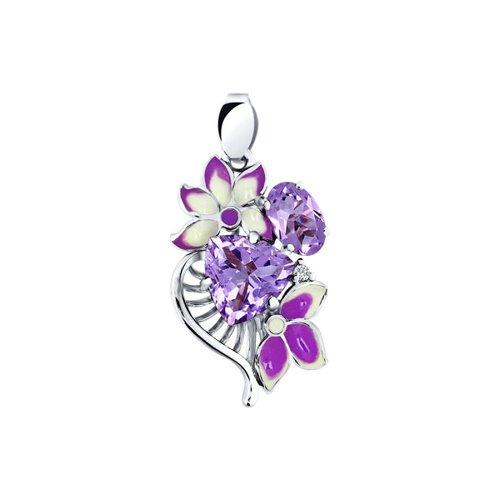 Подвеска SOKOLOV из серебра с эмалью c фианитом и аметистами «Фрезии» серьги длинные sokolov из серебра с эмалью c фианитом орхидея