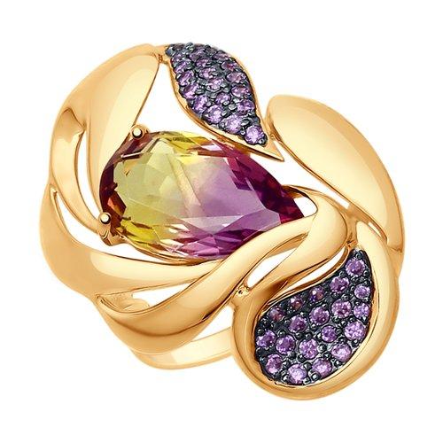 Кольцо из золота с ситаллом аметрин и фианитами (714791) - фото