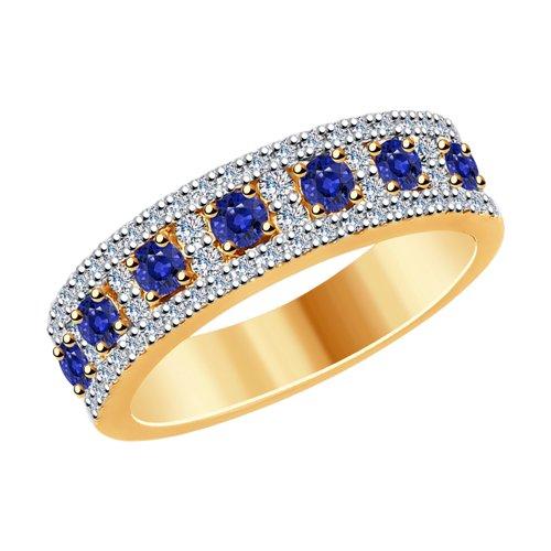 Кольцо из золота с бриллиантами и сапфирами (2011113) - фото