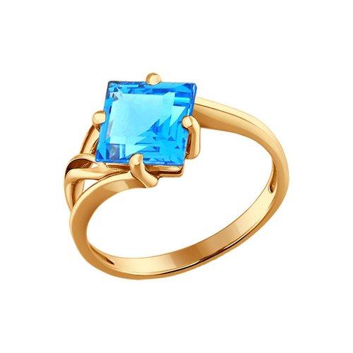 Золотое кольцо с ромбовидным голубым топазом SOKOLOV
