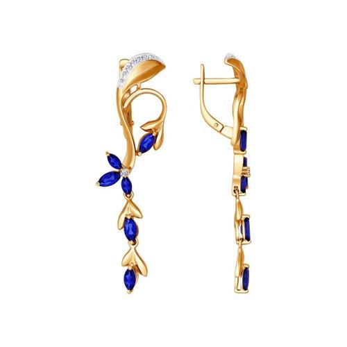 Серьги длинные из золота c сапфирами и бриллиантами «Ветвь»