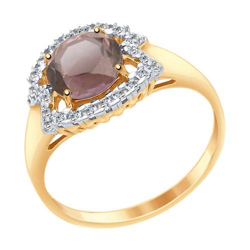 Кольцо из золота с ситаллом султанит и фианитами (715454) - фото