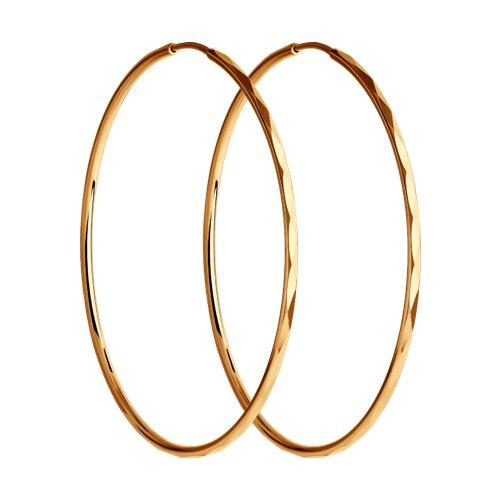 """Золотые серьги """"Конго"""", диаметром 30 мм. 140008 sokolov фото"""
