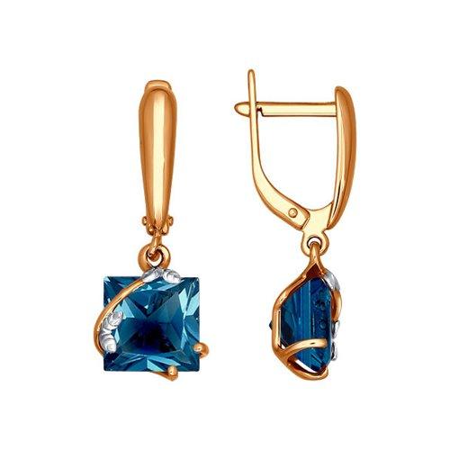 Золотые серьги с квадратным топазом london blue SOKOLOV