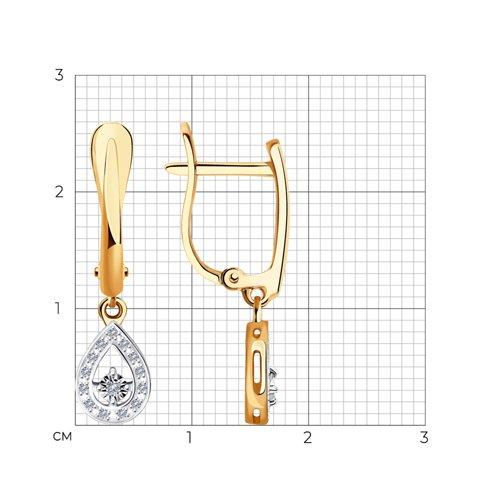 Серьги из комбинированного золота с бриллиантами 1021486 SOKOLOV фото 2