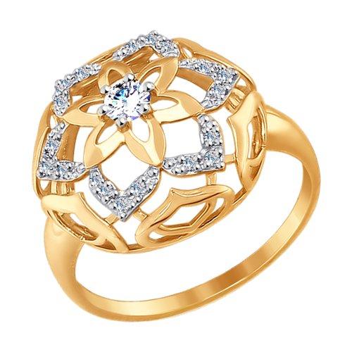 Кольцо из золота с фианитами (017421) - фото