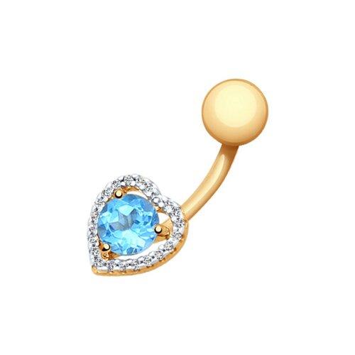 Пирсинг в пупок из золота с топазом и фианитами