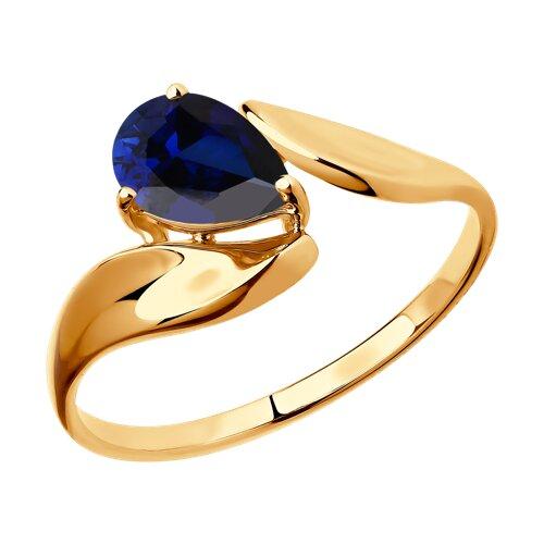 Кольцо из золота с синим корундом (синт.) (715262) - фото