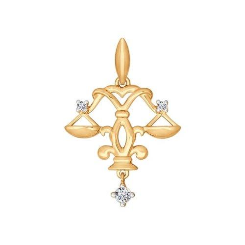 Золотой кулон «Знак зодиака Весы» цена в Москве и Питере