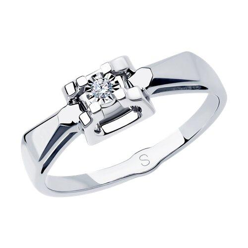Кольцо из белого золота с алмазной гранью с бриллиантом (1011735) - фото