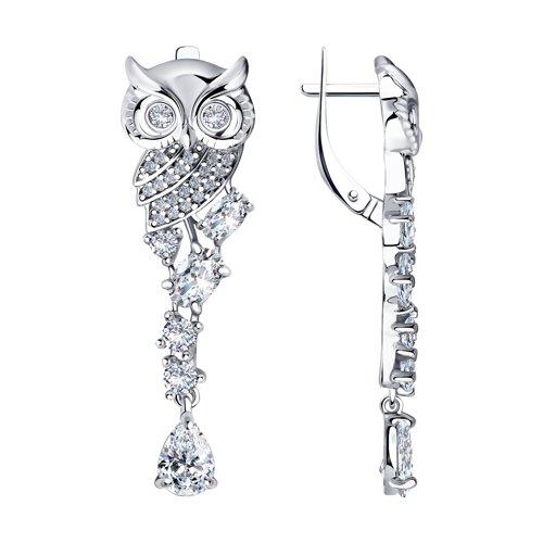 Длинные серьги из серебра в виде совы (94023845) - фото