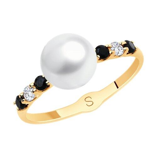 Кольцо из золота с жемчугом и фианитами 791156 SOKOLOV фото