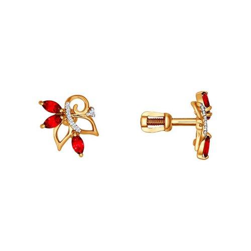 Серьги-пусеты из золота с красными фианитами серьги пусеты из золота с красными фианитами