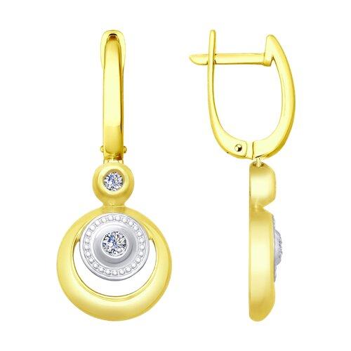 Серьги из желтого золота с бриллиантами (1021203-2) - фото