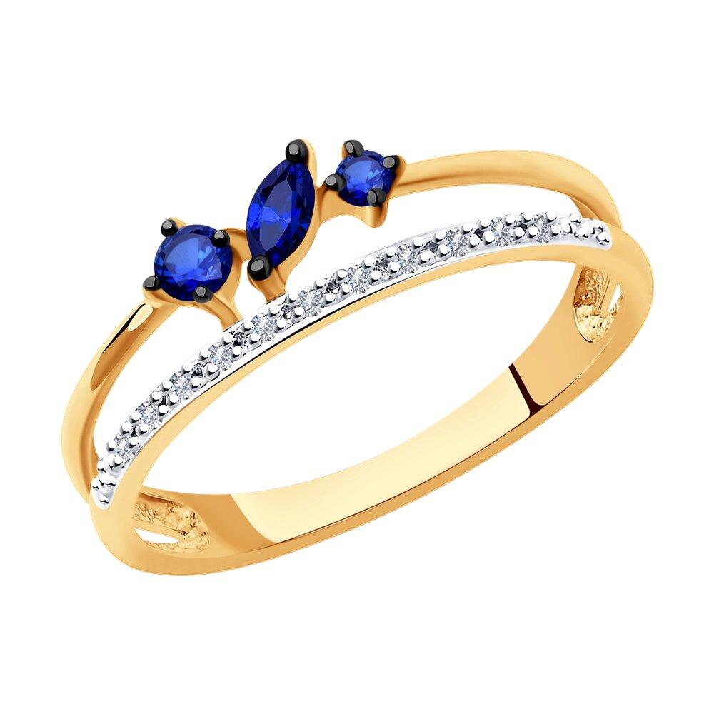 Кольцо SOKOLOV из золота с бриллиантами и сапфирами фото