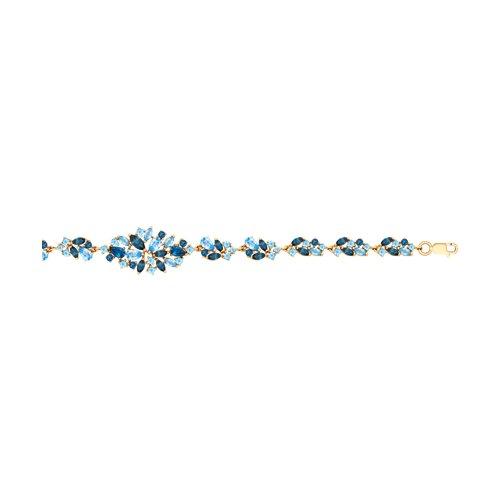 Браслет из золота с голубыми и синими топазами (750257) - фото