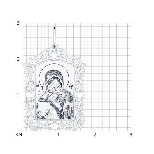 Серебряная нательная иконка с ликом Божьей Матери Владимирской (94100228) - фото №2
