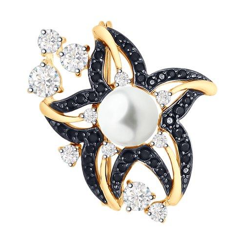 Брошь SOKOLOV из золота с жемчугом и бесцветными и чёрными фианитами кольцо sokolov из золота с бесцветными и чёрными фианитами