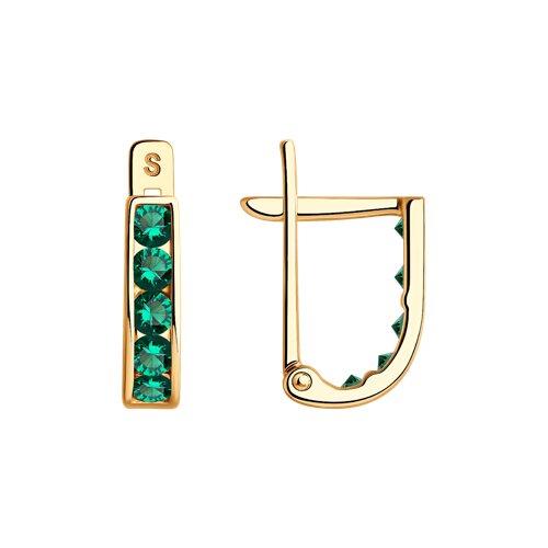 Серьги из золота с зелеными фианитами (021866) - фото