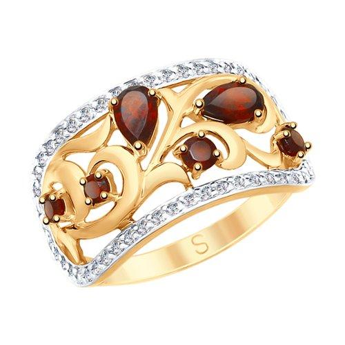 Кольцо из золота с гранатами и фианитами (715085) - фото