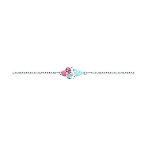 Серебряный браслет «Мороженое» с эмалью SOKOLOV все цены