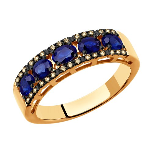 Кольцо с коньячными бриллиантами и сапфирами  (2011066) - фото