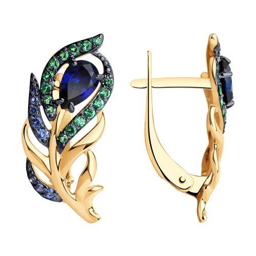Серьги из золота с синими и зелеными фианитами