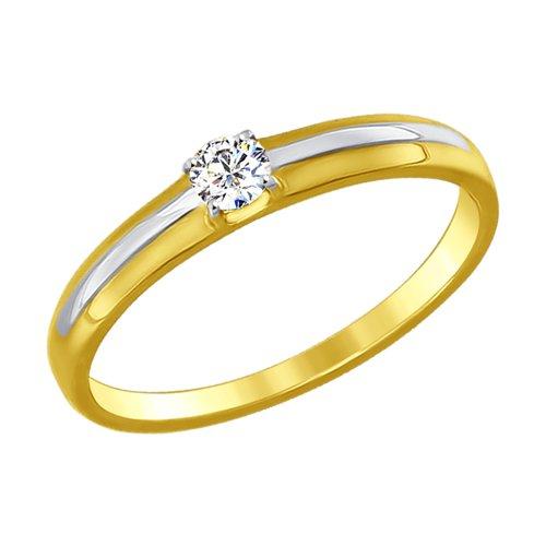 Кольцо из желтого золота с фианитом (017134-2) - фото