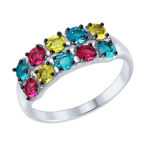 Кольцо из серебра с  кристаллами Swarovski (94012575) - фото