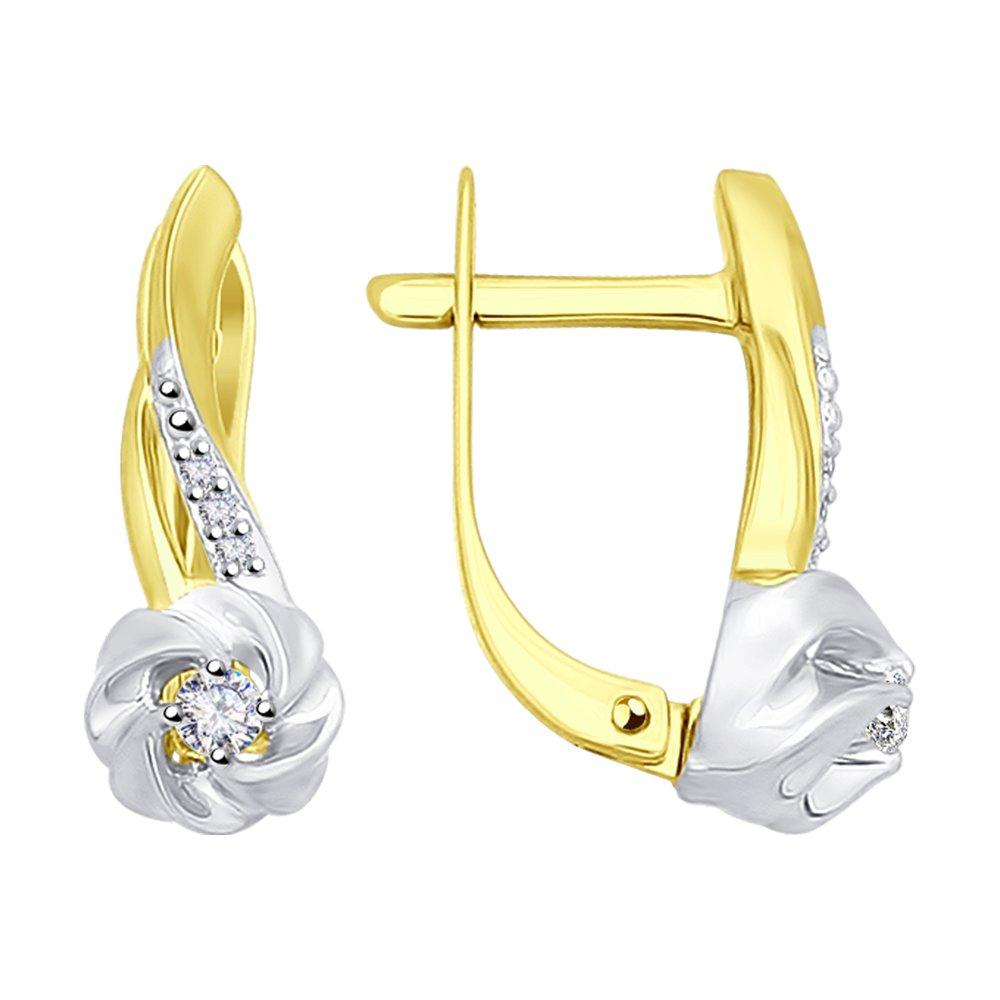 Серьги SOKOLOV из желтого золота с бриллиантами серьги с бриллиантами цаворитами из желтого золота