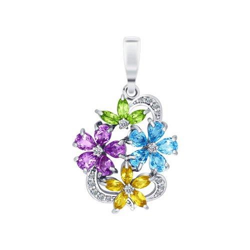 Подвеска с цветками SOKOLOV из полудрагоценных камней
