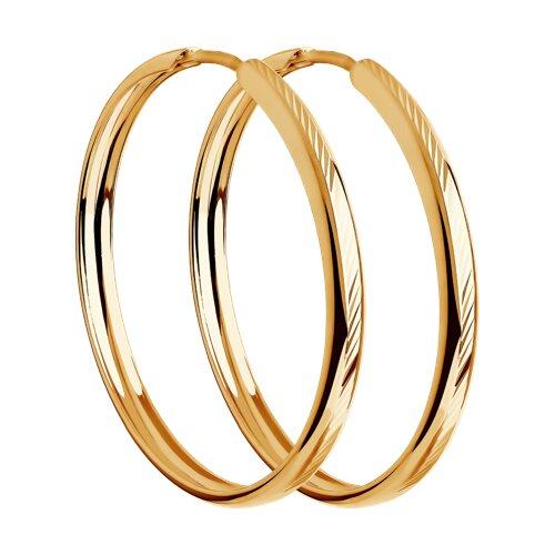 """Золотые серьги """"Конго"""", диаметром 30 мм. 140093 sokolov фото"""