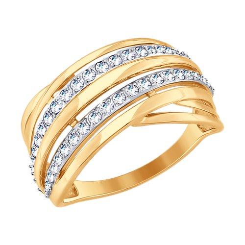 Кольцо из золота с фианитами (017707-4) - фото