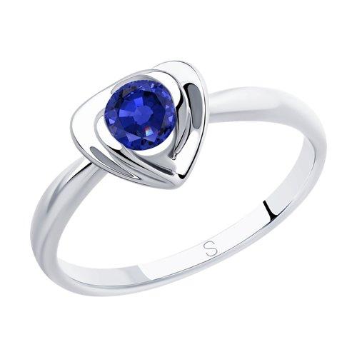 Кольцо из серебра с фианитом (94012885) - фото