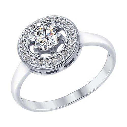 Кольцо из серебра с фианитами (94012315) - фото
