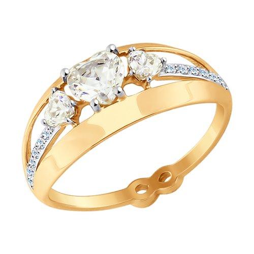Кольцо из золота с фианитами (017594) - фото