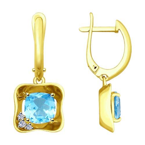 Серьги SOKOLOV из желтого золота с бриллиантами и топазами