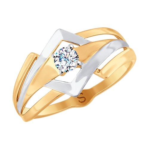 Кольцо из золота с фианитом (018020) - фото