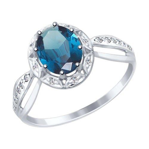 Кольцо из белого золота с синим топазом и фианитами (715032-3) - фото