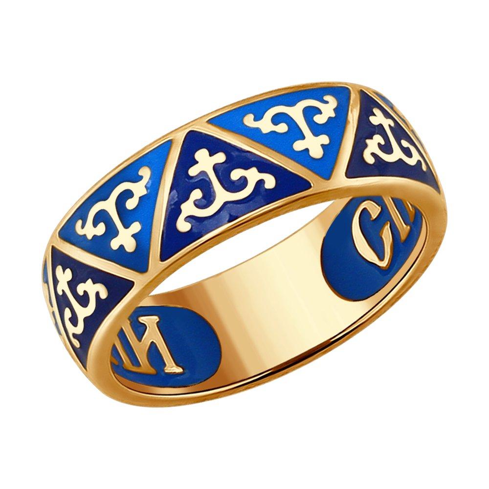 Кольцо с эмалью «Спаси и сохрани» SOKOLOV sokolov обручальное кольцо спаси и сохрани 110210 размер 22