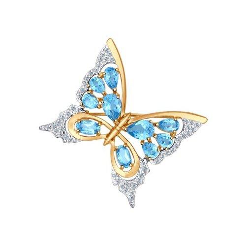 Брошь «Бабочка» с топазами SOKOLOV