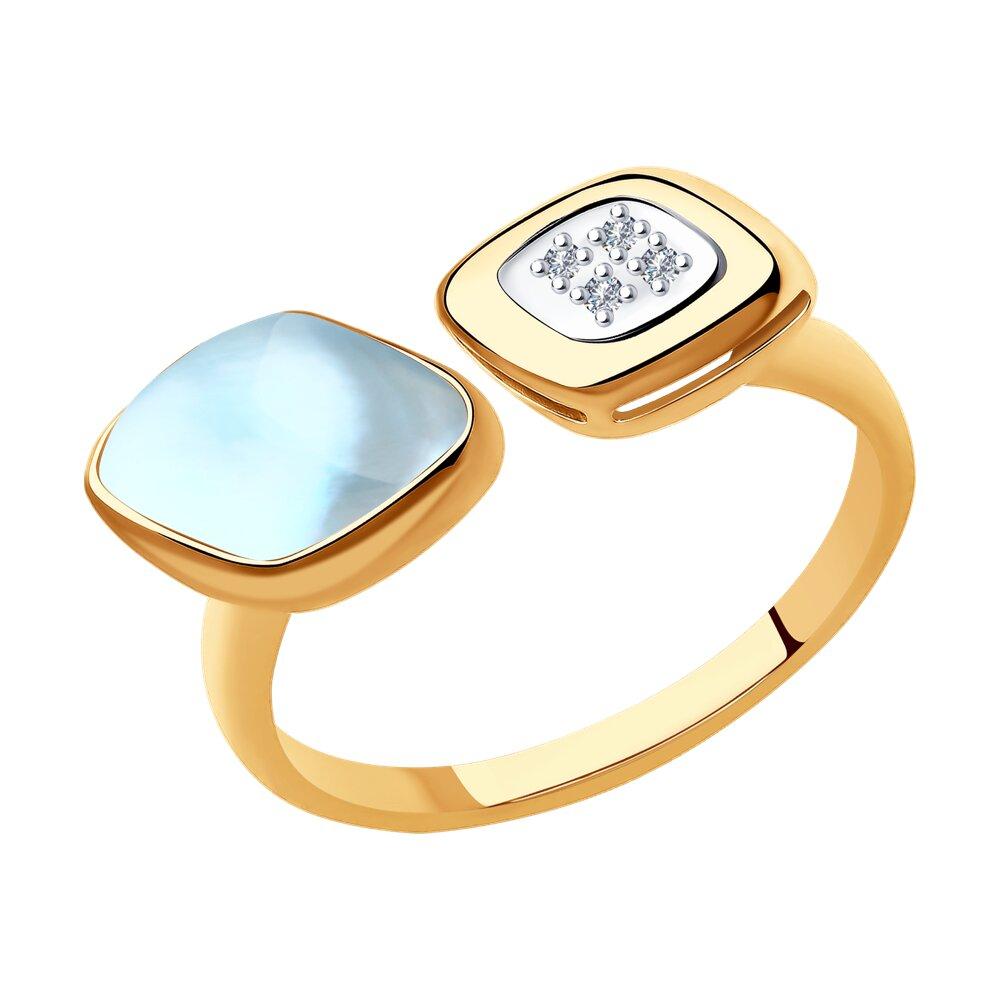 Кольцо SOKOLOV из золота с бриллиантами и дуплетом из топаза и перламутра