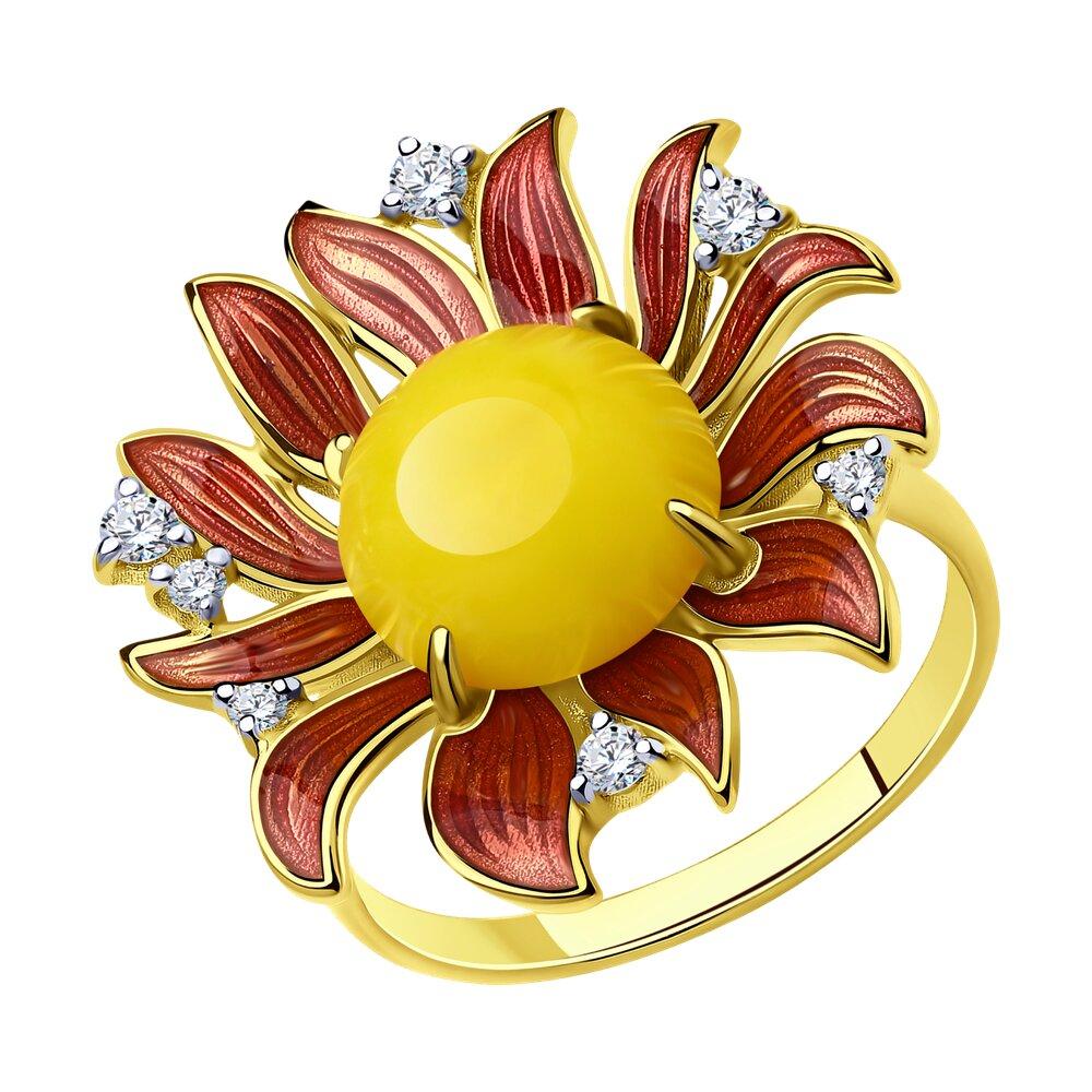 Кольцо SOKOLOV из золочёного серебра с и эмалью и фианитами и синтетическим янтарём